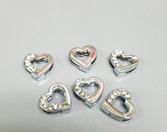 Heart with jewels floating slider charms (set of 6) for DIY jobs like hair ties, headbands, bracelets and more