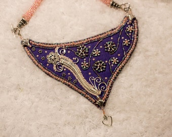 Art Nouveau bead embroidered necklace with wire wrap accents