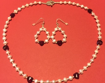 "Dyed Pink Freshwater Pearl with Siam Swarovski Crystal Hearts and Sterling Silver Necklace and Earrings.  ""Dainty Hearts"", 20"" Necklace."