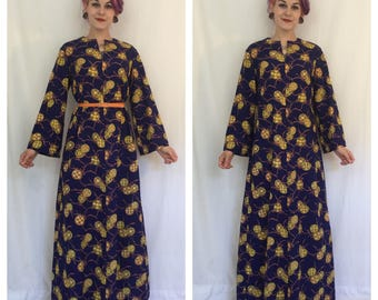 Vintage 1960's Navy Blue Maxi Dress with Token Print