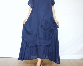 Scoop Neck Cap Sleeve Double Layer Dark Navy Blue Dress With Floral Applique & Hand Embroidery On Left Bottom Hem - D012