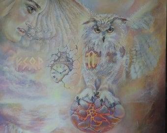 "Esoteric surrealism, painting acrylic painting 60 cm x 90 cm ""Slavic sources"""