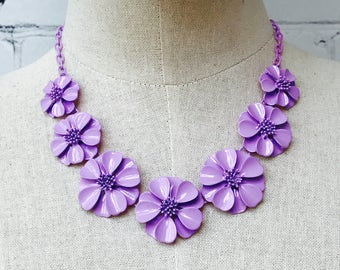 Bridesmaid Necklace, Purple Flower Necklace,Bridesmaid Jewelry,Statement Necklace,Bib Necklace Weddings,Prom Chunky Necklace,Floral Necklace