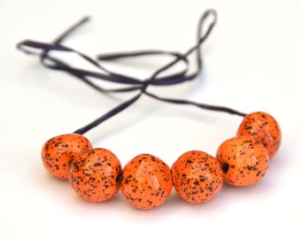 Handmade Ceramic Beads Round in Orange with  Tiny Black and White Speckels