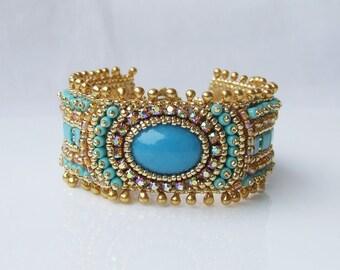 DIY Kit, Bracelet Kit, Bead Embroidery Bracelet, Jewelry Making Kit, Gold Turquoise, Beading Diy Kit, Starter Kit Beading, Diy Craft Beads