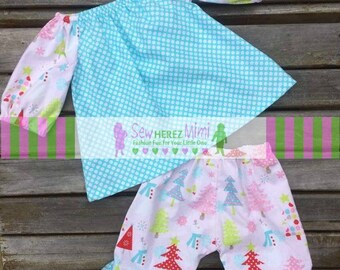 Holiday Christmas Tree Snowman Peasant Ruffle Outfit 2 pc Infant NB 0-3 mos CLEARANCE