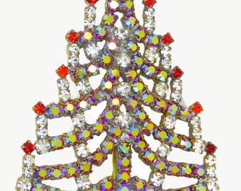 Czech Glass Red AB Rhinestone Christmas Tree Brooch, Xmas Pin, Holiday Brooch. Unique vintage
