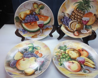 Vintage Lipper And Mann Collectable Wall Hanging Plates Hand Painted With Fruit And Wine Circa 1950's