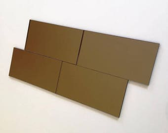 "Bronze Mirrored Acrylic Rectangle Mosaic Wall Tiles, Sizes: 1cm to 25cm -  1"" to 10"""