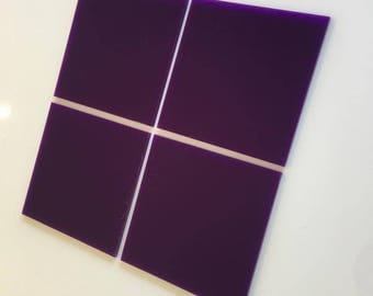 """Purple Gloss Acrylic Square Crafting Mosaic & Wall Tiles, Sizes: 1cm to 20cm - 1"""" to 7.9"""""""