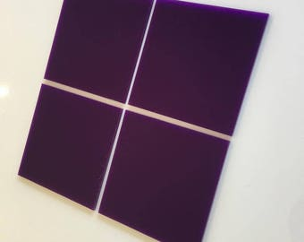 "Purple Gloss Acrylic Square Crafting Mosaic & Wall Tiles, Sizes: 1cm to 20cm - 1"" to 7.9"""