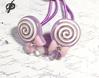purple lollipop ponytail holders - hair ties