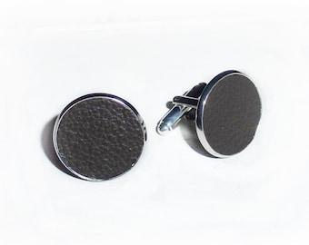 Leather cufflinks