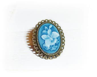 Ring, cameo blue butterfly,
