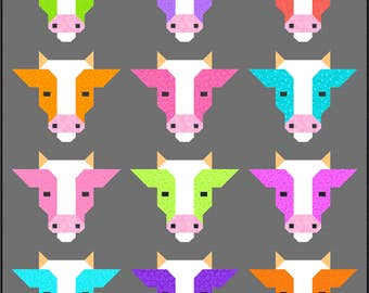 Cows Quilt Pattern, PDF, Instant Download, farm animal, cow, bull, modern patchwork