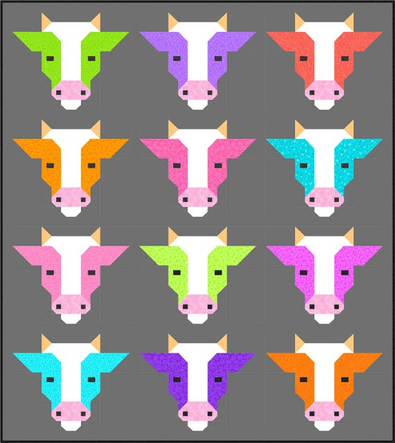 Cows Quilt Pattern PDF Instant Download farm animal cow : cow quilt pattern - Adamdwight.com