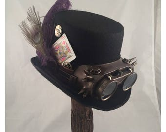 STEAMPUNK TOP HATS, Steampunk Shop, Steampunk Accessories, Tall Top Hat, Black Top Hat, Purple Ostrich, Spiked Goggles, Clock Parts