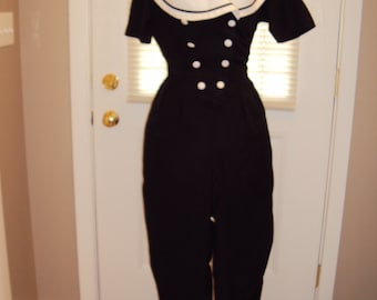 1980s-90s Womens Black And White Sailor Collar Tapered Leg Jumpsuit/Onepiece/Romper/Playsuit/ Size M/ Black Jumpsuit/White Accents