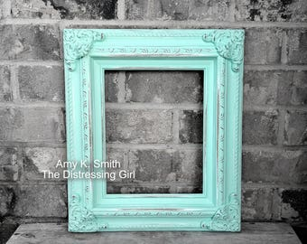 thick ornate 8x10 frame mint green painted and distressed wooden minty green picture frame detailed chunky vintage wedding frame
