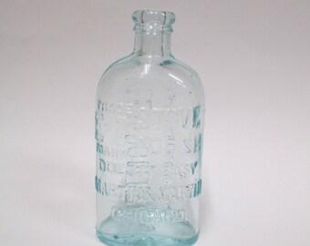 Antique EZ Mark Stove Polish Aqua Glass Bottle, Vintage Blue Embossed Martin & Martin Chicago