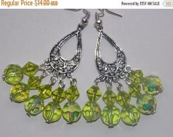 15%OFF Green Chandelier Earrings