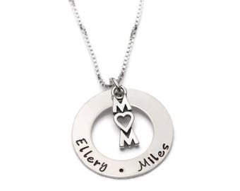 Gift for Mom, Custom Personalized Necklace, Mommy Jewelry Necklace, Mothers Necklace, Childrens Names, Sterling Silver