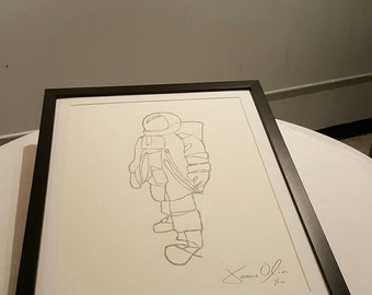 Astronaut (Graphite) Wall Decor, Mixed Media Astronaut Painting, Spaceman Art Small White hand painted signed edition of 100 by Jason Oliva