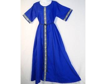 Sz Lg Medieval Royal Blue Cotton Dress Gown w/ Jacquard Trim SCA LARP