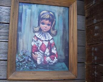 Eden Big Eyed Girl,Framed Lithograph,Harlequin,Retro Girl,Brown Wood Frame,Retro Art