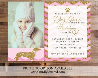 Doggie Birthday Invitation-Doggie Party-Girl Birthday Party Digital File-Pink Chevron Birthday Party-Gold Glitter Birthday Party Invite