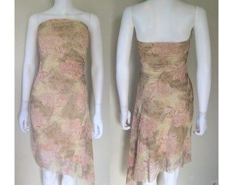 Asymmetrical Print strapless dress