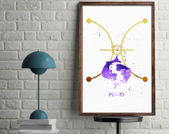 Pisces Print, Pisces Art, Watercolor Pisces, Pisces Sign, Pisces Zodiac, Pisces Wall Decor, Birthday Gifts, Astrology Art, Zodiac, Art Print