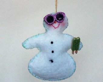 Whimsical Eco felt snow man in sunglasses holding an ice pop
