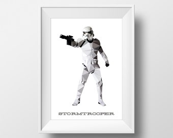 Digital Download Stormtrooper Geometric Abstract Star Wars Poster Print Art - Boys Room - 11x14