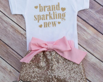 Brand Sparkling New Home Coming Hospital Newborn Outfit, Glitter Brand Sparkling New Outfit
