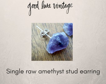 Raw Amethyst Stud Earring Druzy Natural Geode Crystal Nickle Free Boho Minimalistic Single Piercing Replacement