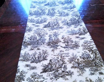 Black Toile Table/Bed Runner, French Toile Table Cloth/Scarf, French Table/Bed Linen, 14''x72'' Buffet Runner, Dresser Runner, Toile Scarf.