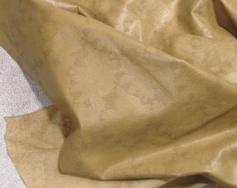 EMB07 Leather Cow Hide Cowhide Craft Fabric Tan Embossed Floral 17 sq ft FREE SHIPPING