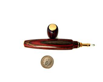 Perfume Applicator Hand Turned Hard Wood Red Dark Brown