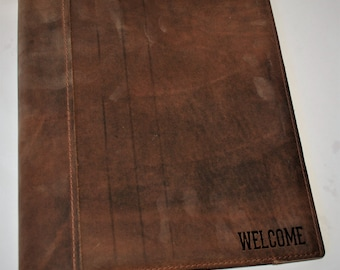 Leather Binder Cover  Personalized leather, Engraved , Diary, Notebook, Personalized Engraved Diary, Genuine Leather Dark Brown