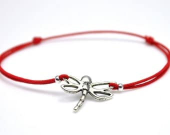 Dragonfly bracelet red cord