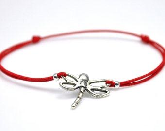 Dragonfly bracelet red cord