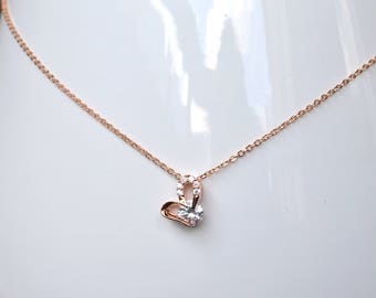 Heart necklace pink gold
