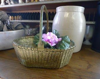 Brass toned metal basket