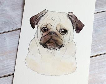 Pug | A5 Giclée Print