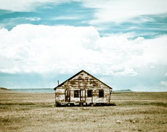 Rustic Art, prairie homestead, big sky, abandoned house, blue, white, brown, Rustic Photography, Fine Art Print
