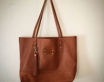 The Shopper Camel Tan Brown Leather Satchel Tote Purse Handbag Bag
