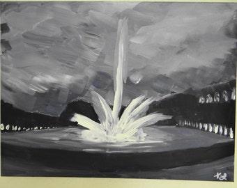 Original Parisian Fountain Acrylic on Canvas
