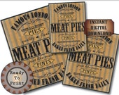 Goth Meat Pies Halloween Sign Printable Set Aged Victorian London Fresh Quality Pies Pints Deliveries Below Baked Fresh Daily Open All Night