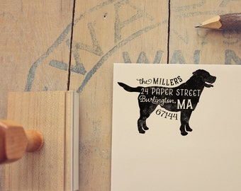 Labrador Retriever Address Stamp - Dog Return Address Stamp - Dog Lover Gift - Rubber Stamp - Personalized Pet Address Stamp